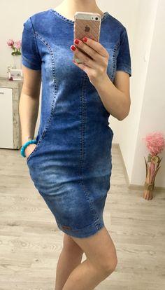 Džínsové šaty krátky rukáv