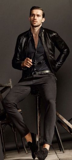 Black Leather Modern Moto Jacket, by Massimo Dutti, Urban Street Style, Mens Fall Winter Fashion.: