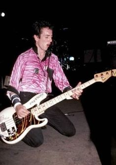 Joe Strummer with Paul's bass. by Ebet Roberts.