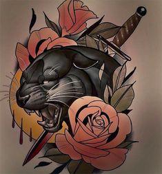 neo traditional: 19 Tausend Bilder in Yandex gefunden . - neo traditional: 19 Tausend Bilder in Yandex gefunden … – - Traditional Panther Tattoo, Traditional Tattoo Design, Traditional Tattoos, Tattoo Sketches, Tattoo Drawings, Body Art Tattoos, Sleeve Tattoos, Hand Tattoos, Fenrir Tattoo