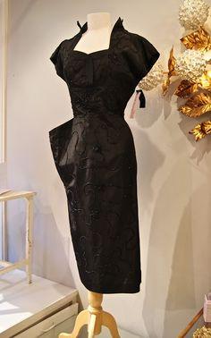 Black 1940s Femme Fatate Beaded Taffeta Cocktail Dress