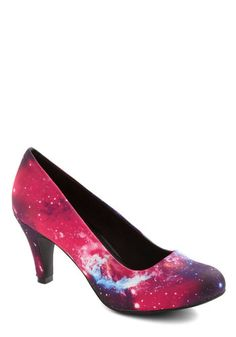 """""""Galaxy After My Own Heart Heel"""" Found my wedding shoes! And I'm definitely thinking of putting a little TARDIS on them flying around somewhere :-)"""