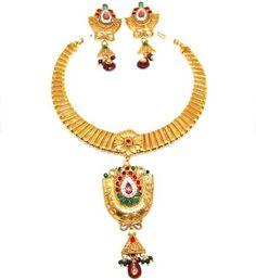 AZBWBR054-GPU Arras Creations Fashion Trendy Bollywood Style Indian Imitation Necklace Set for Women
