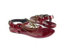 Nine West Women's Strappy Thong Sandals Dark Red/Gold Shoes Size 6.5 MSRP $59