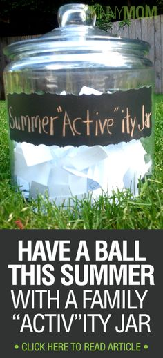 Family Activities: Have a family activity jar and have the child draw a new activity out of the jar everyday and then that will be the activity that the family does that day. Summer Fun For Kids, Kids Fun, Summer Fall, Summer Activities, Family Activities, Family Fun Night, Outdoor Fun, Fun Games, Projects For Kids