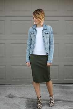 Olive pencil skirt, leopard booties, and denim jacket. women's fashion and style. Modest Outfits, Modest Fashion, Fall Outfits, Casual Outfits, Cute Outfits, Casual Pencil Skirt Outfits, Black Pencil Skirt Outfit, Lace Skirt Outfits, Corset Dresses
