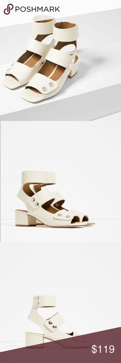 """ZARA 100% Leather Sandals Brand new with tags and original box, never worn. Zara Eur 39 / US 8. Heel height of 1.85"""". Upper: 100% COW LEATHER. Cheaper on Ⓜ️ Zara Shoes Sandals"""