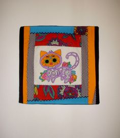 Purple Cat Pillow Cover  Colorful Hand Embroidery by KarenHeenan, $40.00 - SOLD