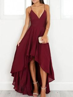A-line Spaghetti Strap High-Low Chiffon Simple Burgundy Prom Dresses ASD26744