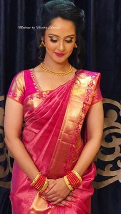 Pretty in pink. Our bride Leena for her engagement. Hair and makeup by Vejetha for Swank. Wedding Dresses For Curvy Women, New Wedding Dresses, Saree Hairstyles, Trendy Hairstyles, Bridal Silk Saree, Saree Wedding, Silk Sarees, Sari Blouse Designs, Engagement Dresses