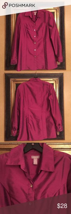 Plum Chico's blouse Plum colored 3/4 sleeved blouse. Shimmer shine but not metallic. Chico's. Size 0 fits size 4. 67% polyester and 33% nylon. Beautiful blouse can be worn open as a jacket layer. Very versatile. Beautiful. Chico's Tops Blouses