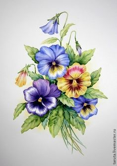 Beautiful picture of pansies. One of my favourite flowers Folk Art Flowers, Vintage Flowers, Flower Art, Cactus Flower, Flowers Garden, China Painting, Tole Painting, Fabric Painting, Watercolor Flowers