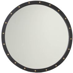 Round Exotic Hardwood Mirror with Antique Bronze Details 1