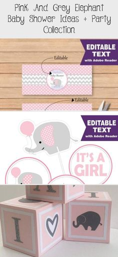 Pink and Grey Elephant Baby Shower Ideas + Party Collection - Partymazing#baby #collection #elephant #grey #ideas #party #partymazing #pink #shower Pink Elephant Party, Elephant Nursery Girl, Girl Nursery Bedding, Baby Girl Nursery Decor, Elephant Baby Showers, Grey Elephant, Baby Shower Tags, Baby Shower Vintage, Baby Shower Invites For Girl