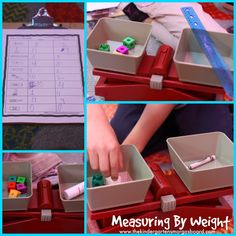 Measuring by weight.  Use cubes to weigh objects!  How heavy is it?