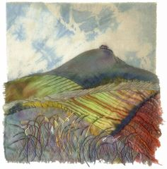 Landscape-inspired textile art made from hand-dyed fabric, stitching and mixed m . Landscape-inspired textile art made from hand-dyed fabric, stitching and mixed media … Landscape- Textile Fiber Art, Textile Artists, Landscape Quilts, Landscape Art, Fabric Painting, Fabric Art, Watercolor Paintings, Textiles, Map Quilt