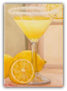 "Still Life ""When Life Gave Her Lemons, She Made a Lemon Drop"" Original Oil Painting by Tina Petersen"