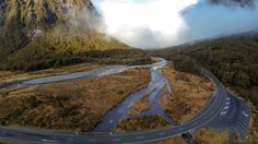 Milford Sound Highway, Fiordland, New Zealand Milford Sound, South Island, New Zealand, Country Roads, River, Outdoor, Outdoors, Rivers, The Great Outdoors