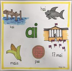 diftong ai Barn Crafts, Norway Language, Classroom Walls, School Subjects, In Kindergarten, Second Grade, Problem Solving, Literacy, Alphabet