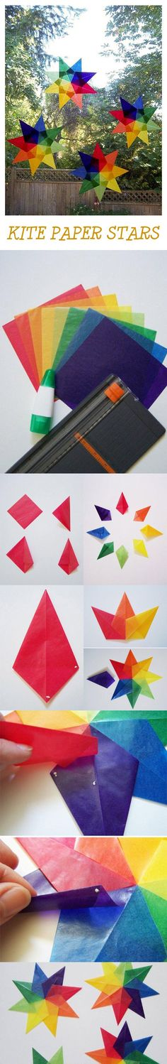 for Kids: Kite Paper Stars A colorful project to brighten your day. Kite Paper StarsA colorful project to brighten your day. Projects For Kids, Diy For Kids, Craft Projects, Crafts For Kids, Diy And Crafts, Arts And Crafts, Paper Crafts, Kites For Kids, Waldorf Crafts