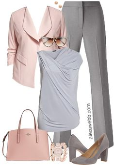 Plus Size Grey & Blush Work Outfit - Plus Size Work Wear - Plus Size Fashion for Women - Plus Size Fashion For Women, Womens Fashion For Work, Work Fashion, Fashion Advice, Curvy Fashion, Fashion Top, Fashion Websites, Corporate Fashion Plus Size, Fashion Clothes
