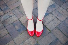 Red ankle strap flats