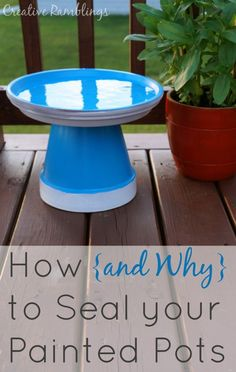How to Seal Painted Pots and why it's so important. Plus an easy mini bird bath made with flower pots. Crafts How (and why) to Seal Painted Pots - Plus a Mini Bird Bath - Creative Ramblings Clay Flower Pots, Flower Pot Crafts, Clay Pot Crafts, Diy Clay, Rock Crafts, Flower Pot Art, Garden Crafts, Garden Projects, Garden Art