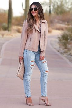 Girly Outfits, Cute Casual Outfits, Pretty Outfits, Stylish Outfits, Fall Outfits, Fashion Outfits, Camo Denim Jacket, Casual Weekend Outfit, Vegan Leather Jacket