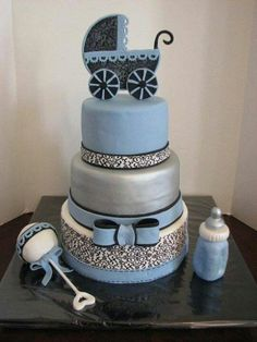 Baby Shower Cake  But Butter Cream Instead Of Fondant. The Stripes And  Stuff Can Be Done In BC Too. | BDAY | Pinterest | Meninos, Bolos E Creme