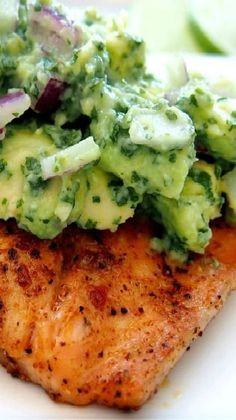 Seafood  4 cut into pieces	 2 lbs salmon Produce  1	 Avocado 1 tbsp	 Cilantro 2	 Limes, Juice from 1 tsp	 Onion powder 1/2	 Red onion, small Baking & Spices  1/2 tsp	 Ancho chili powder 1 tsp	 Black pepper 1 tsp	 Paprika, powder 1 tsp	 Salt 1	 Salt Oils & Vinegars  1 tbsp	 Olive oil Nuts & Seeds  1 tsp	 Cumin, ground