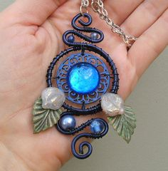 Eye of Indigo Art Nouveau Necklace by dreamtrappings on Etsy, $25.00