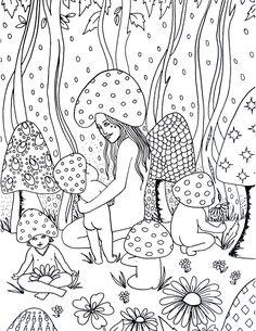spirit sol mushroom magic coloring page