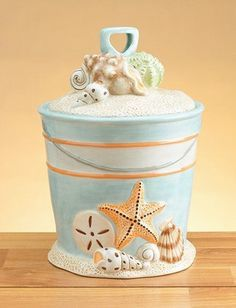 Nautical Beach Ceramic SAND BUCKET & SHOVEL with Sea Shells Cookie Jar