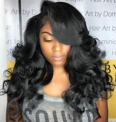 long black curled hairstyle
