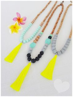 Bright new Penny: Neon paired with neutrals - Fall tassel necklace must haves ... shop these necklaces @ https://www.etsy.com/shop/Brightnewpenny