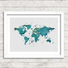 World Map Watercolor Print, Green Map Art, Watercolor Map Art, Minimalist Art Print, Home Decor Wall Art, Not Framed, Buy 2 Get 1 Free!
