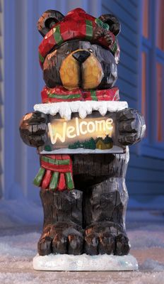 Holiday Black Bear Solar Welcome Statue $14.99 Collections, etc.