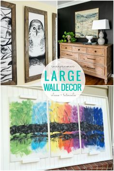 Affordable DIY Large Wall Decor Ideas: 60 ideas for making your own large wall decor and wall art on a budget #remodelaholic Cheap Wall Art, Cheap Wall Decor, Simple Wall Art, Diy Wall Art, Diy Wall Decor, Home Decor Wall Art, Diy Home Decor, Easy Wall, Wall Décor