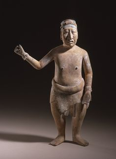 workman: slowartday: Mayan culture, Mexico, Standing Male Figure, ceramic with maya blue pigment, 600-800