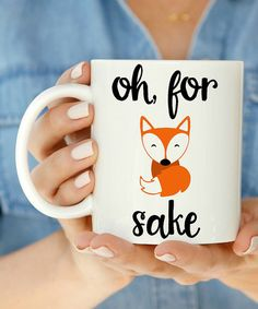 Popular saying for mugs! Ask about our fox silkscreen. it could save you the time if you're trying to keep it simple. Cute Mugs, Funny Mugs, Pottery Painting, Ceramic Painting, Fox Pictures, Vinyl Projects, Diy Gifts, Coffee Cups, Creative