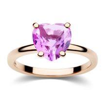 Anello in oro rosa con zaffiro sintetico rosa a forma di cuore. Da portare singolarmente o in abbinamento agli altri anelli 100% Amore con cuore in zaffiro bianco o in rubino rosso - Dodo, Pomellato