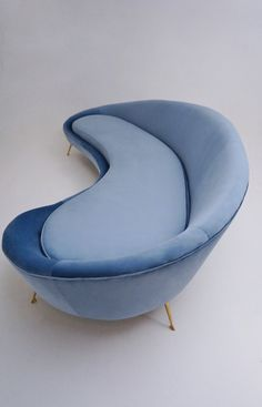 Ico Parisi sofa 1950`s style in new velvet upholstery, Italian in Vintage Sofas from Roomscape