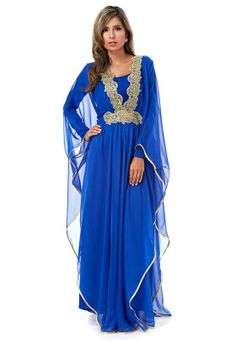 Step out like royalty this festive season with Hayas Closet. This sheer blue kaftan detailed with lace panels to the neck and metallic trims gives off subtle elegance. Available via www.namshi.com