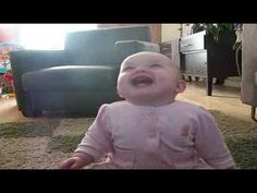 Baby cracks up at her dog eating popcorn... Omg, so hilarious. We should all have a good laugh like this!