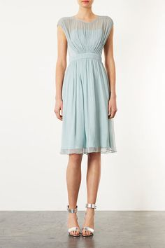 Topshop Limited Edition Chiffon Bodice Skater Dress in Blue (mint) - Lyst