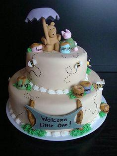 Winnie the Pooh Baby shower cake by dessertdiva.ca