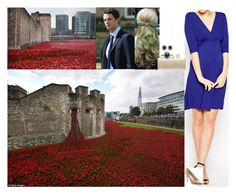 """Viewing the ""Blood Swept Lands and Seas of Red"" art installation at the Tower of London"" by lady-maud ❤ liked on Polyvore featuring Kate Thomas, Elsa Peretti and Russell & Bromley"