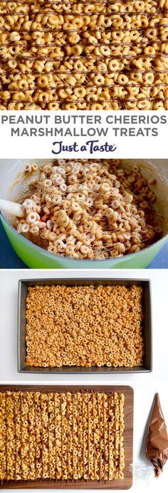 Peanut Butter Cheerios Marshmallow Treats | #recipe via justataste.com
