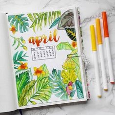 25 Incredible tropical bullet journal spreads to inspire your next vacation (and my Hawaii stationery haul! Bullet Journal Vacation, April Bullet Journal, Bullet Journal Ideas Pages, Bullet Journal Spread, Bullet Journal Layout, Bullet Journal Inspiration, Bullet Journal Leaves, Bullet Journal Decoration, Bullet Journals