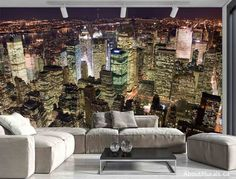 This city mural adds a touch of glam with its sparkling high rise buildings in Manhattan. Can you feel the excitement this photo mural of New York creates? Photo Mural, Photo Wall, Manhattan, Prepasted Wallpaper, Wallpaper Murals, Wallpaper Ideas, Wall Murals Bedroom, High Rise Building, Paper Decorations